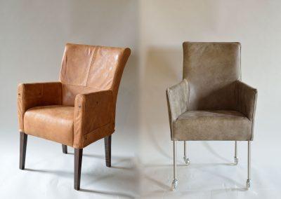 Leren stoelen met armleuning