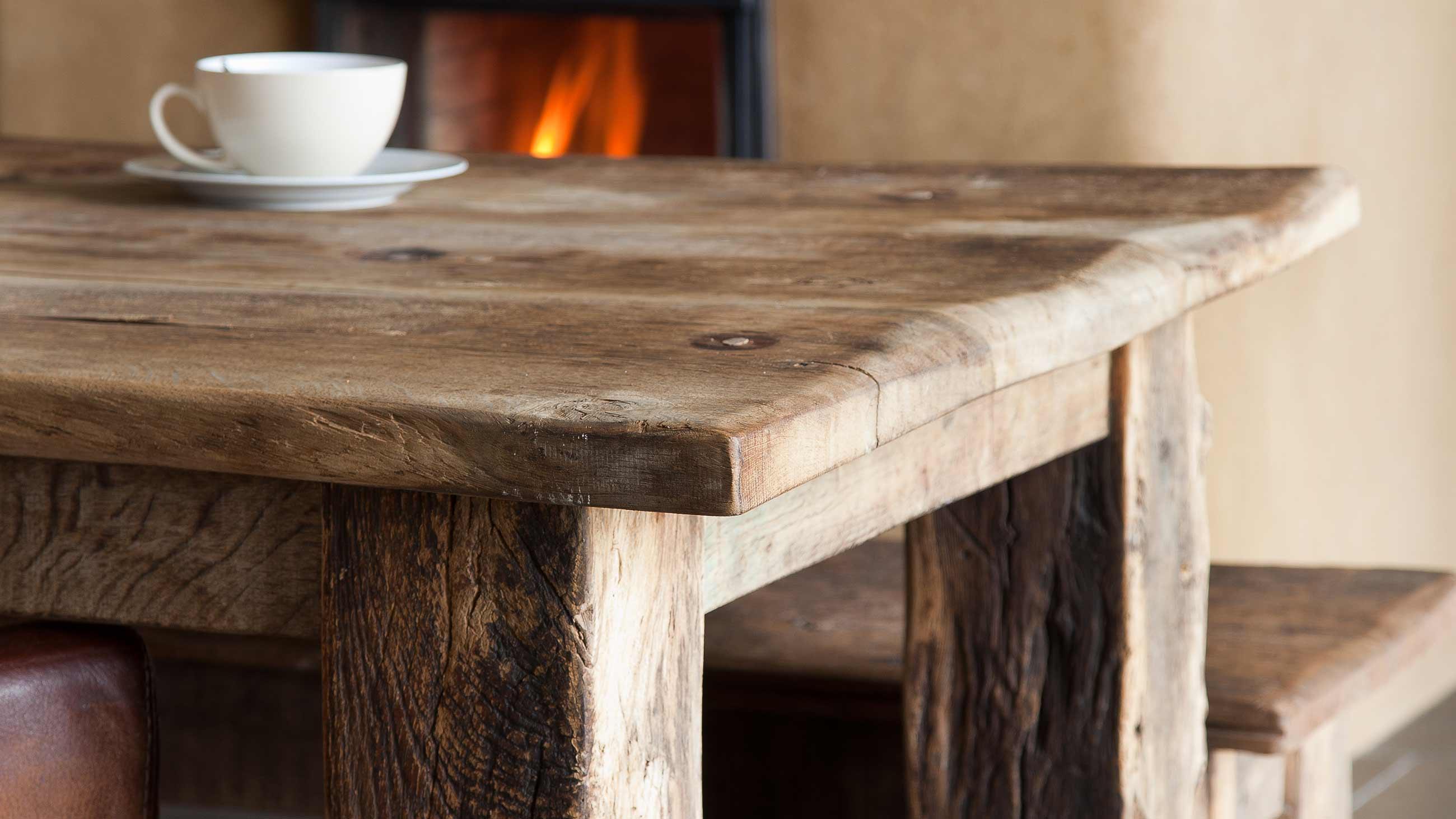 Tafelblad oud eiken gebroeders de ruiter for Eiken tafel