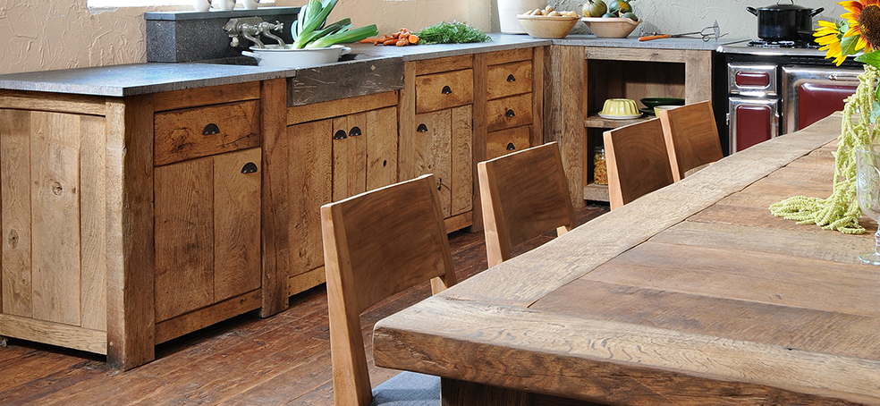 Oud eiken keuken van onbehandeld eiken hout - Gebr. de Ruiter