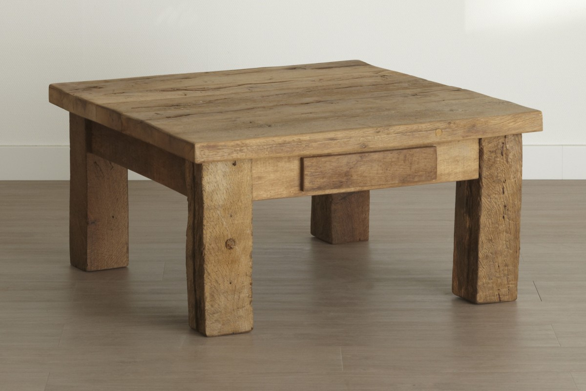 Oud eiken salontafel vierkant