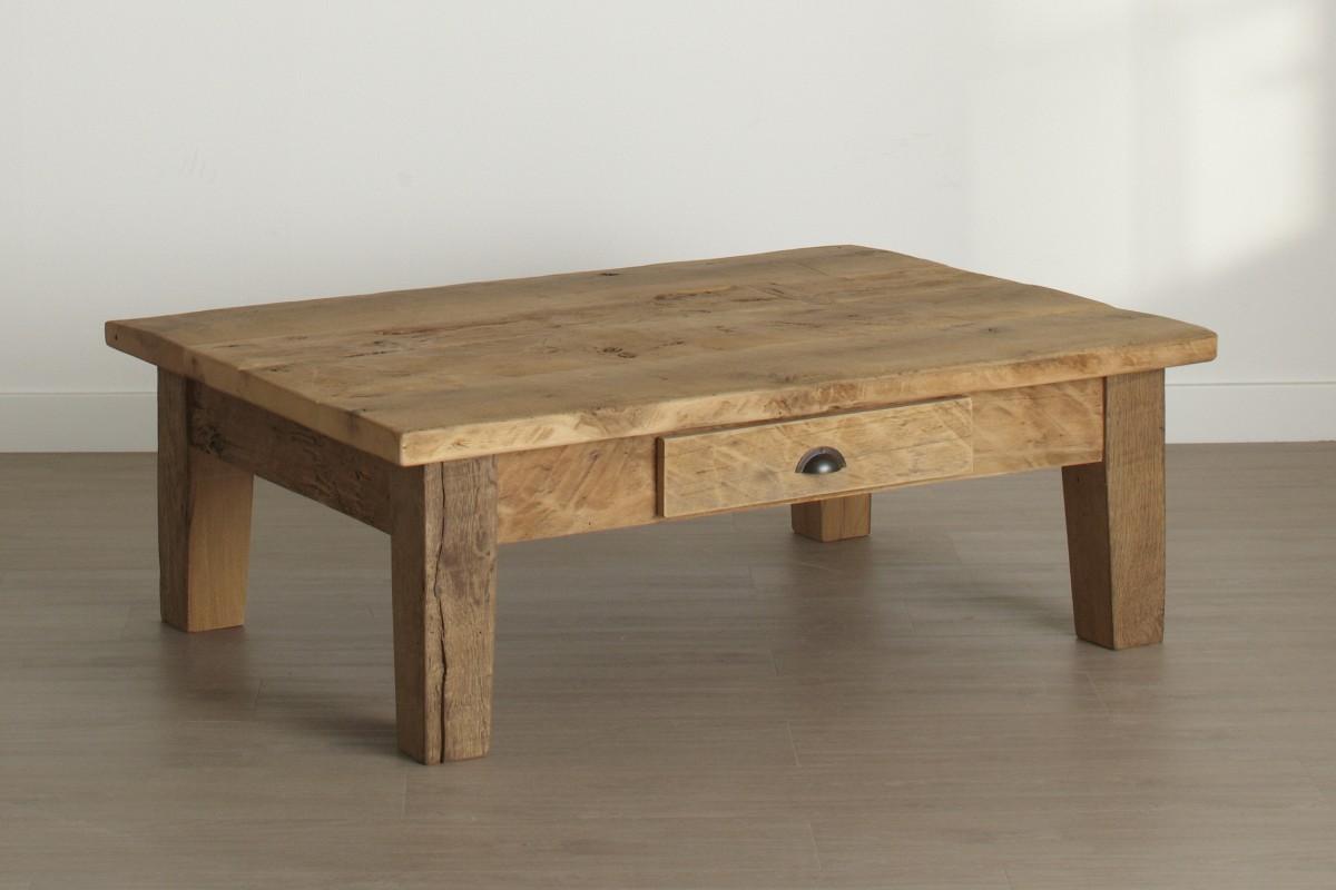Oud eiken salontafel met lade gebroeders de ruiter