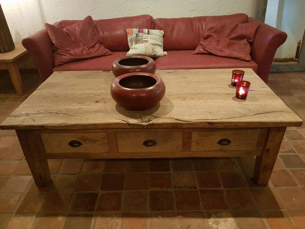 Oud eiken salontafel van onbehandeld eiken hout  u2013 Gebr  de Ruiter