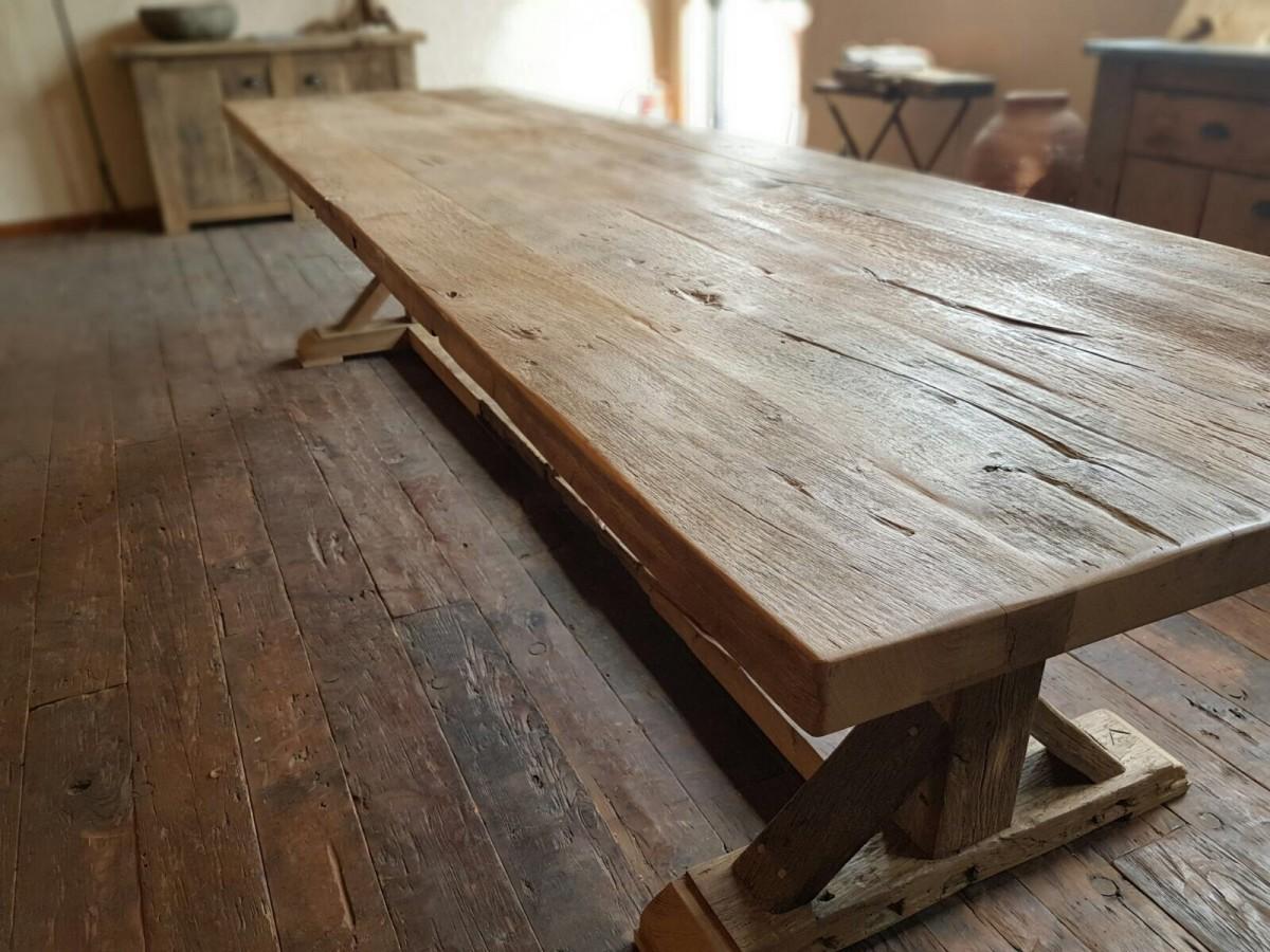 Robuuste oud eiken tafel van natuurlijk eiken u gebr de ruiter